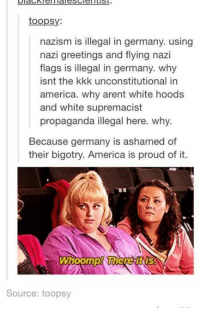 Kkk, Memes, and Propaganda: toopsy:  nazism is illegal in germany. using  nazi greetings and flying nazi  flags is illegal in germany. why  isnt the kkk unconstitutional in  america. why arent white hoods  and white supremacist  propaganda illegal here. why.  Because germany is ashamed of  their bigotry. America is proud of it.  Whoomp! WhereURUS  Source: toopsy Indeed ... there it is.