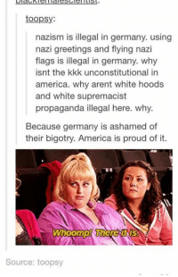Kkk, Memes, and Propaganda: toopsy:  nazism is illegal in germany. using  nazi greetings and flying nazi  flags is illegal in germany. why  isnt the kkk unconstitutional in  america. why arent white hoods  and white supremacist  propaganda illegal here. why.  Because germany is ashamed of  their bigotry. America is proud of it.  Whoomp! Where  Source: toopsy