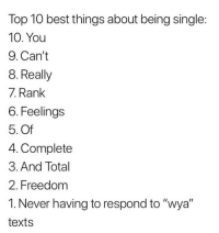 "Memes, Tinder, and Best: Top 10 best things about being single:  10. You  9. Can't  8. Really  7. Rank  6. Feelings  5. Of  4. Complete  3. And Total  2. Freedom  1. Never having to respond to ""wya""  texts 0. Being allowed to open my @tinder again singlenotsorry tinderpartner"