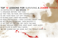 "Blade, Clothes, and Fire: TOP 10 LESSONS FOR SURVIVING A ZOMBIE ATTACK  AS INSTRUCTED BY MAX BROOKS  1. ORGANIZE BEFORE THEY RISE.  2. THEY FEEL NO FEAR, WHY SHOULD YOU?  3. USE YOUR HEAD: CUT OFF THEIRS.  4. BLADES DON'T NEED RELOADING.  5. IDEAL PROTECTION TIGHT CLOTHES,""SHORT HAIR  6. GET UP THE STAIRCASE, THEN DESTROY IT  7. GET OUT OF THE CAR, GET ONTO THE BIKE.  8. KEEP MOVING, KEEP LOW, KEEP QUIET, KEEP ALERT  10. THE ZOMBIE MAY BE CONE BUT THE THREAT LIVES ON  10. THE ZOMBIE MAY BE GONE, BUT THE THREAT LIVES ON. growing-old-isnt-growing-up:  speightbrigade:  archangel-bonding:  feferixmakara:  ilovefancyhats3214:  fenrirmakara:  also, duct tape on your arms, a few layers, but not too tight. basically it'll stop a zombie taking a chunk out of your arm if you're reloading or your blade gets jammed in a zombie wearing a wetsuit underneath your clothing would also be useful. remember; they were human once, humans have blunt teeth! you try biting through duct tape AND a wet suit never duct tape joints, your movements will be limited, and you want to be fast and danger (gotta go fast) don't hole up in small houses either that's a recipe for disaster, you want somewhere with a secure upstairs, and a way down from the upstairs that is zombie free or can easily be cleared of zombies (avoid fire exits with steps leading up to them though, unless they have gates at the bottom) sound = attraction, so if you do have guns, use them only in emergencies or for the sake of popping one head you'll be greeted with many many more raid your local medical shops, and get there first, nobody is going to stop and share it out equally while they're panicking. don't hit out at somebody unless they hit out at you, though, you already have unintelligent corpses pitted against you, you don't want sentient humans on your case as well (zombies don't do the revenge thing, humans do!) try not to piss people off, because as stated before, yes, humans like revenge don't try and be clever and use yourself as live bait; yes playing the hero is glorious in movies, but it doesn't work so glamorously in real life large numbers isn't a good idea. you want small groups, even if you just branch out from being in a larger group, because if there's a lot of you you are a bigger target, but don't then go off and decide to be in groups that are too small in case you get surrounded (in which case, the duct tape and wet suits will come in handy) food shouldn't be that hard to come by, most people would have attempted to flee the area straight from their houses and packed what they had, raiding local shops could still be worth it. but remember, know your way in, your way out, and double check there's nothing in the shop ready to sneak up behind you while you're reaching up for that tin of beans half balaclava masks or something similar to cover your lower face while fighting zombies could also be useful, you don;t want to accidentally ingest flying zombie fluids and end up one of them, that'd be a nasty surprise for your group to wake up to (since going solo possibly isn't a good idea) and always, ALWAYS, have a way to start a fire on you zombies burn  I  I love my followers so you need to protect yourselves.  even better, defeat Pestilence before he can start the virus  This is relevant cause i'm in a zombie movie…  Axes and crowbars are not only perfect for killing zombies, they are also capable of breaking down secured doors. And never ever ever travel at night. A zombie's ability to hunt won't be hindered by darkness, but yours will."