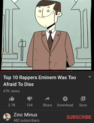 He is borderline one of the best rappers in this dimension: Top 10 Rappers Eminem Was Too  Afraid To Diss  47K views  +  Share  Download  2.7K  134  Save  Zinc Minus  SUBSCRIBE  483 subscribers He is borderline one of the best rappers in this dimension