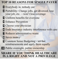 reimburse: TOP 10 REASONS FOR SINGLE PAYER  1 Everybody in, nobody out  2 Portability: Change jobs, get divorced, lose  your job, etc. won't lose coverage  3 Uniform benefits for everyone  4 Enhance Prevention  5 Choose your physician  6 Ends insurance industry interference with care  7 Reduces administrative waste  8 Saves money  9 Common Sense Budgeting set fair  reimbursements and apply them equally  10 Public oversight, public ownership  SHARE IF YOU THINK HEALTHCARE  IS A RIGHT AND NOT A PRIVILEGE