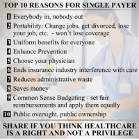 Image from Democratic Socialist: TOP 10 REASONS FOR SINGLE PAYER  1 Everybody in, nobody out  2 Portability: Change jobs, get divorced, lose  your job, etc. won't lose coverage  3 Uniform benefits for everyone  4 Enhance Prevention  Choose your physician  6 Ends insurance industry interference with care  7 Reduces administrative waste  Saves money  9 Common Sense Budgeting set fair  reimbursements and apply them equally  10 Public oversight, public ownership  SHARE IF YOU THINK HEALTHCARE  IS A RIGHT AND NOT A PRIVILEGE Image from Democratic Socialist