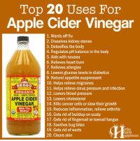 Learn More:  Amazing Benefits Of Apple Cider Vinegar:  ==> http://www.herbs-info.com/blog/amazing-benefits-of-apple-cider-vinegar/  How To Get Rid Of Moles With Apple Cider Vinegar:  ==> http://www.herbs-info.com/blog/how-to-get-rid-of-moles-with-apple-cider-vinegar/  25 Ways Apple Cider Vinegar Can Change Your Life:  ==> http://www.herbs-info.com/blog/25-ways-apple-cider-vinegar-can-change-your-life/: Top 20 Uses For  Apple Cider Vinegar  1. Wards off flu  2. Dissolves kidney stones  3. Detoxifies the body  4. Regulates pH balance in the body  5. Aids with nausea  6. Relieves heart burn  7. Relieves allergies  8. Lowers glucose levels in diabetics  9. Natural appetite suppressant  10. Helps relieve migraines  BRAGG  11. Helps relieve sinus pressure and infection  ORGANIC  12. Lowers blood pressure  RAW UNFILTERED  E  APPLE CIDER  13. Lowers cholesterol  VINEGAR  14. Kills cancer cells or slow their growth  15. Reduces inflammation, relieve arthritis  With The  A Mother  16. Gets rid of buildup on scalp  Naturally Free  17. Gets rid of fingernail or toenail fungus  Sering The World Since in2  18. Soothes bug bites  erbs  19. Gets rid of warts  ealth  20. Clears skin  appiness Learn More:  Amazing Benefits Of Apple Cider Vinegar:  ==> http://www.herbs-info.com/blog/amazing-benefits-of-apple-cider-vinegar/  How To Get Rid Of Moles With Apple Cider Vinegar:  ==> http://www.herbs-info.com/blog/how-to-get-rid-of-moles-with-apple-cider-vinegar/  25 Ways Apple Cider Vinegar Can Change Your Life:  ==> http://www.herbs-info.com/blog/25-ways-apple-cider-vinegar-can-change-your-life/