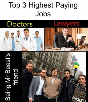 Beasts: Top 3 Highest Paying  Jobs  Lawyers  Doctors  RK PLACW  Κ  Being Mr Beast's  friend