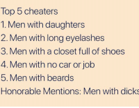 Beyonce, Cheating, and Dating: Top 5 cheaters  1. Men with daughters  2. Men with long eyelashes  3. Men with a closet full of shoes  4. Men with no car or job  5. Men with beards  Honorable Mentions: Men with dicks Finally back from Alabama, and someone actually made an accurate list BoutTime ThatDriveTho OnlyGotOneTicket DamnGeorgiaCops Anyhoo ReallyTho realshit relationships Dating cheating Snapped CrazyGirlFriends bipolargilfriends OhWell BeMad TheseHoes AintLoyal relationships Dating lol Beyonce Rihanna NickiMinaj KimKardashian KhloeKardashian KendallJenner KylieJenner selenagomez TaylorSwift