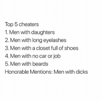 Dicks, Shoes, and Dank Memes: Top 5 cheaters  1. Men with daughters  Men with long eyelashes  3. Men with a closet full of shoes  4. Men with no car or job  5. Men with beards  Honorable Mentions: Men with dicks Wylinnnnn. 😂😂