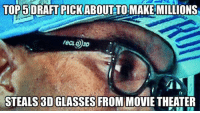 Someone forgot to return back their 3D glasses after the movie...  Credit: Devang Patel: TOP 5 DRAFT PICK ABOUT TO MAKE MILLIONS  STEALS 3D GLASSES FROM MOVIE THEATER Someone forgot to return back their 3D glasses after the movie...  Credit: Devang Patel