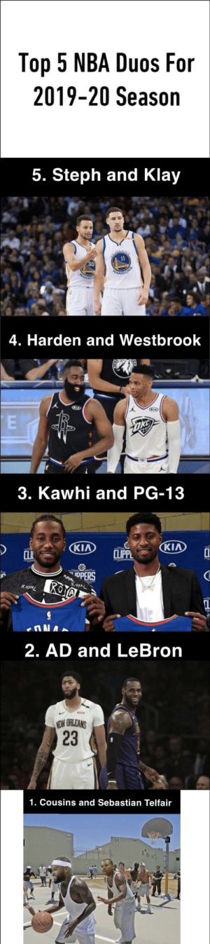 Nba, Lebron, and Kia: Top 5 NBA Duos For  2019-20 Season  5. Steph and Klay  11  RIORS  WARR  WARRI  4. Harden and Westbrook  KIA  KIA  E  3. Kawhi and PG-13  KIA  KIA  CLIPPL  CLIK  IpPERS  ROYAL  ROYAL  2. AD and LeBron  EW ORLEANS  1. Cousins and Sebastian Telfair  04  D5  I'nn'  23 Here it is. The official list.