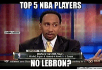 Steven A Smith's Top 5 NBA Players!  http://whatdoumeme.com/meme/botels: TOP 5 NBA PLAYERS  ONBA Humor  Stephens Top 5 NBA Players  1. Wade 2. Bryant Howard 4 Nowiuki S. Ourant  NO LEBRON?  NEL Elart over Done Steven A Smith's Top 5 NBA Players!  http://whatdoumeme.com/meme/botels