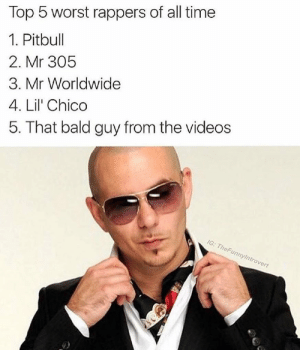 Videos, Pitbull, and Time: Top 5 worst rappers of all time  1. Pitbull  2. Mr 305  3. Mr Worldwide  4. Lil' Chico  5. That bald guy from the videos  nnyintr  overt