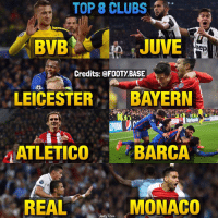 Memes, 🤖, and Top: TOP 8 CLUBS  BVB  JUVE  eep  Credits: FOOTy BASE  LEICESTER  BAYERN  BARCA  ATLETICO  REAL  MONACO  Base The Last 8 of UCL! 😻 WHO WILL WIN THE TITLE? 👇 Double Tap & Follow @footy.base for more! ❤️