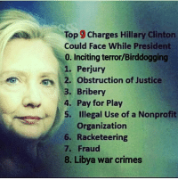 Crime, Hillary Clinton, and Memes: Top 90 Charges Hillary Clinton  Could Face While President  0. Inciting terror/Birddogging  1. Perjury  2. obstruction of Justice  3. Bribery  4. Pay for Play  5. Illegal Use of a Nonprofit  organization  6. Racketeering  7. Fraud  8. Libya war crimes