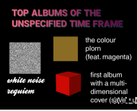 "Reddit, Time, and Com: TOP ALBUMS OF THE  UNSPECIFIED TIME FRAME  the colour  plorn  (feat. magenta)  first album  with a multi  dimensional  cover (save  vhite noise  requiem <p>[<a href=""https://www.reddit.com/r/surrealmemes/comments/7lb7j5/listen/"">Src</a>]</p>"