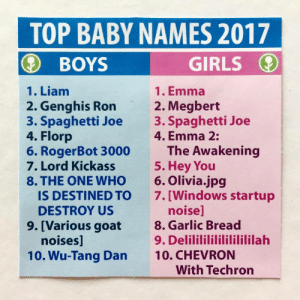 obviousplant: These are the most popular baby names right now: TOP BABY NAMES 2017  GIRLS  BOYS  1. Liam  1. Emma  2. Genghis Ron  3. Spaghetti Joe  4. Florp  6. RogerBot 3000  7. Lord Kickass  8. THE ONE WHO  IS DESTINED TO  2. Megbert  3. Spaghetti Joe  4. Emma 2:  The Awakening  5. Нey You  6. Olivia.jpg  7.[Windows startup  noise]  8. Garlic Bread  9. Delilililililililililah  DESTROY US  9. [Various goat  noises]  10. CHEVRON  With Techron  10. Wu-Tang Dan obviousplant: These are the most popular baby names right now