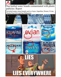 Life, Memes, and Water: Top bottled water brands contaminated with plastic  particles: Report  Included major name brands such as Aqua, Aquafina, Dasani, Evian,  Nestle Pure Life and San Pellegrino  Nestle  ian  AQUAFINA  ure life  PURIFIED STER  NATURA  AL WATER  pure woter, pe fect taste  1.5L  THE SOURCE, SAN PELLEGRINO TERME  PURIFIED WI ER  S.P  PARKLNG NATURAL INERAL WATER  RINO  DA AN  LIES  LIES EVERYWHERE Ah yes, pure, natural, plastic