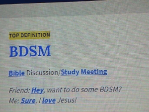 Jesus, Love, and Nsfw: TOP DEFINITION  BDSM  Bible Discussion/Study Meeting  Friend: Hey, want to do some BDSM?  Me: Sure, I love Jesus! [NSFW] Youre darn right Im into BDSM. Can I get an amen?