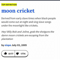 aye lmao: TOP DEFINITION  moon cricket  Derived from early slave times when black people  would come out at night and sing slave songs  under the moonlight like crickets.  Hey! Billy Bob and Joline, grab the shotguns the  damn moon crickets are escaping from the  plantation  by nispe July 03, 2005  6177 1774 aye lmao