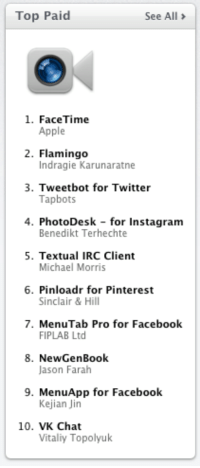 Top Paid See All 1 FaceTime Apple 2 Flamingo Indragie Karunaratne 3