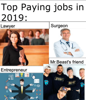 Big oof by Galacticgamewolf MORE MEMES: Top Paying jobs in  2019:  Surgeon  Lawyer  Mr.Beast's friend  Entrepreneur  EEAST  SE S1  4i> Big oof by Galacticgamewolf MORE MEMES