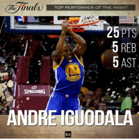@andre is the 2015 NBAFinals MVP! He's the first to win the award without starting a game in the regular season. NeverSettle 🏀🏀🏀: TOP PERFORMER OF THE NIGHT  RPALDING  26 PTS  5 REB  5 AST  SPALDING  ANDRE IGUODALA  b/r @andre is the 2015 NBAFinals MVP! He's the first to win the award without starting a game in the regular season. NeverSettle 🏀🏀🏀