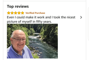 Selfie, Selfie Stick, and Work: Top reviews  AAnVerified Purchase  Even I could make it work and I took the nicest >  picture of myself in fifty years. This selfie stick review is adorable