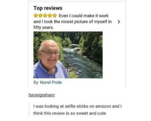 Wholesome selfie stick review: Top reviews  Even I could make it work  and I took the nicest picture of myself in  fifty years.  By Norel Pride  hannigraham:  I was looking at selfie sticks on amazon and i  think this review is so sweet and cute Wholesome selfie stick review