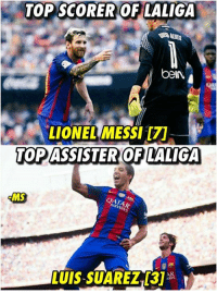 Barcelona attack is on fire..  Via: The Barça Nation: TOP SCORER OF LALIGA  beIN  LIONEL MESSI  TOP ASSISTER OF LALIGA  MS  QATA Barcelona attack is on fire..  Via: The Barça Nation