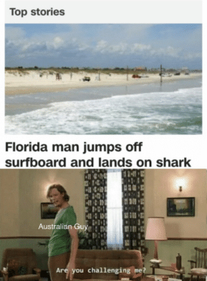 Memes taste good: Top stories  Florida man jumps off  surfboard and lands on shark  Australian Guy  Are you challenging me? Memes taste good
