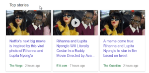 phasered:  i cant believe its real i cant believe it's really happening. after seeing that post go around for a million years i cant believe its really going to happen starring two black women and written/directed by two black women: Top stories  Netflix's next big movie  is inspired by this viral  photo of Rihanna and  Lupita Nyong'o  Rihanna and Lupita  Nyong'o Will Literally  Costar In a Buddy  Movie Directed by Ava  A meme come true  Rihanna and Lupita  Nyong'o to star in film  based on tweet  The Verge 2 hours ago  EW.com 7 hours ago  The Guardian 2 hours ago phasered:  i cant believe its real i cant believe it's really happening. after seeing that post go around for a million years i cant believe its really going to happen starring two black women and written/directed by two black women