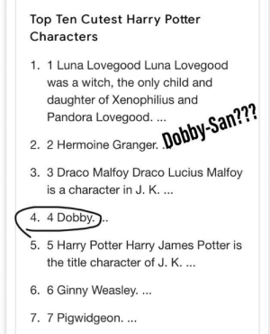 Wassup: Top Ten Cutest Harry Potter  Characters  1. 1 Luna Lovegood Luna Lovegood  was a witch, the only child and  daughter of Xenophilius  Pandora Lovegood. ...  2. 2 Hermoine Granger. Dobby-San???  3. 3 Draco Malfoy Draco Lucius Malfoy  is a character in J. K. ..  4.4 Dobby.  5. 5 Harry Potter Harry James Potter is  the title character of J. K. ...  6. 6 Ginny Weasley. ...  7. 7 Pigwidgeon. . Wassup