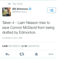 Hockey, Liam Neeson, and Taken: Top Tweet  Bill Simmons  @Bill Simmons  Taken 4 Liam Neeson tries to  save Connor McDavid from being  drafted by Edmonton.  4/18/2015, 8:21 PM  3,898 RETWEETS 3,148  FAVORITES Coming this summer
