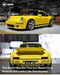Memes, Twins, and Birds: TOPCAR  HH NEWS  REBELLION  EMOBILE  MAZDA  The Brand New Ruf That Isn't Based On  Porsche Still Looks Like One Anyway  SEGULA Via @carthrottlenews - You know we said Ruf had built its own car that for the first time wasn't based on a Porsche? Well, as it turns out, it's not quite the split from convention that we imagined. - In homage to the 1987 CTR Yellow Bird, a completely bonkers 210mph version of the contemporary 911, Ruf has clothed its brand new carbon-tubbed CTR 2017 in a body that, well, let's just say Porsche might be a bit miffed if Ruf hasn't asked permission. - The reason for bothering with an all-new chassis, then? Porsche's latest are too big to get the effect Ruf wanted. - It's 1987 styling all over again, with flat-cut five-spoke alloys and a gigantic spoiler, yellow paint and upright, round headlights. But the details are very much 2017, like the lower ride height, the modern headlight technology and the obviously not Porsche interior, clothed in Alcantara at almost every surface apart from the tartan leather seats. - That amazingly wide body is all carbon, too, so you really, really wouldn't want to crash it even at low speed. Is it a slice of pure hotness or is it a shame that Ruf didn't come up with its own styling to match all the effort it put into building the chassis? - Either way, it's fast. A dry weight of just 1200kg makes it lighter than a McLarenn 720S, but taller gearing for the 700bhp twin-turbo Ruf means it's not as fast. Expect 0-62mph in 3.5 seconds and 0-124mph in less than nine, but the top speed of 224mph does trump the McLaren's 212mph. - Traction comes from 305-section rear tyres that dwarf the 245-section fronts, and it needs plenty of grip to contain the 649lb ft of torque at just 2750rpm. The engine, a Porsche-mimicking 3.6-litre flat-six, is built by Ruf itself based on the design of the engine in the 1987 Yellow Bird. - We don't know whether to love it for blending the old and the new so complete