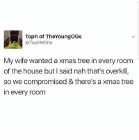 Lmao 😂 MexicansProblemas: Toph of TheYoungOGs  @TophWhite  My wife wanted a xmas tree in every room  of the house but I said nah that's overkill,  so we compromised & there's a xmas tree  in every room Lmao 😂 MexicansProblemas
