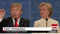 "Bad, Finals, and Memes: Topic: Immigration  CNN FINAL PRESIDENTIAL DEBATE  (CNN  6:21 PM PT  ""We have some bad hombres here, and we're gonna get 'em out"" Donald J. Trump on securing the borders as part of his immigration plan http://cnn.it/2evv7Av"