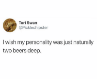 Nothing like being two shots of @JAJA deep: Tori Swan  @Picklechipster  I wish my personality was just naturally  two beers deep. Nothing like being two shots of @JAJA deep
