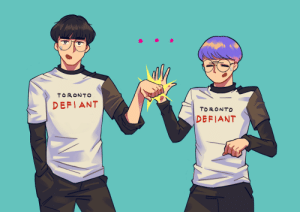 Ali, Saw, and Tumblr: TORONTO  I DEFIANT  TORONTO  DEFIANT alion:  i saw a clip of roky attempting to high-five neko, and he gets a fist bump instead ToT