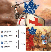 Logic, Memes, and New York: TORONTO  MAP LE  LEAFS  @nhl ref logic  ISLANDERS  28 SOG  TORONTO  MAPLE  LEAFS  0  n  FINAL  MAPLE LEAFS  5  50 SOG  NEW YORK  MAPLE LEAFS  4  32 SOG  FINAL  RANGERS  25 SOG  0 After 2 short days, the Leafs now own the state of New York, that is all.