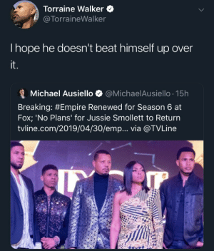 Fumbled the whole bag trying to get extra money (via /r/BlackPeopleTwitter): Torraine WalkerQ  @TorraineWalker  Ihope he doesn't beat himself up over  Michael Ausiello @MichaelAusiello. 15h  Breaking: #Empire Renewed for Season 6 at  Fox; 'No Plans' for Jussie Smollett to Return  tvline.com/2019/04/30/emp... via @TVLine Fumbled the whole bag trying to get extra money (via /r/BlackPeopleTwitter)