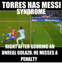 Soccer, Unreal, and Allianz: TORRES HAS MESSI  xCaixaBank IxcaixaBankTXCaixaBan Ixcaixaban  Allianz  Auto  RIGHAFTERSCORINGAN  UNREAL GOLAZO, HE MISSES A  PENALTY Torres caught the Messi bug.