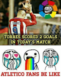 Memes, Atletico, and 🤖: TORRES  TORRES SCORED 2 GOALS  IN TODAY S MATCH  ATLETICO FANS BE LIKE