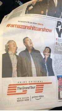 #Amazonshitcarshow: Tory Brexit supporters Owen Paterson, lain Duncan Smith, David Davis, M  United front: (I-r)  Amazon'shit car show returns.  #amazonshitcarshow  ■ NO.100  12 MONT  ■ BUT RE  TRYING TO  A PEOPLE'S VOTE  of a year' to organise  they visited Theresa  yesterday  The ofticial guidance  setting out the factual d  a YouGov poll saw support  in the EU rise to 56 per cent  evel since the lune 2016 ref  It was revealed as the prn  prepared to put her Plan B  drawal to a vote on Janua  months before Brexit takes  According to the gove  timescale for a People's  include seven months for  legislation to clear parlia  weeks for the Electoral C  carry out question testing  ated Remain campaigners  But the claim was dismis  servative MP and former at  Dominic Grieve said:  out swity and within  extension of Articie 50.t  for the govenment to  when their Birexit deai  P RIME ORIGINAL  The Grond Tour  NEW SEASON prime video  WATCH NOW  Second #Amazonshitcarshow