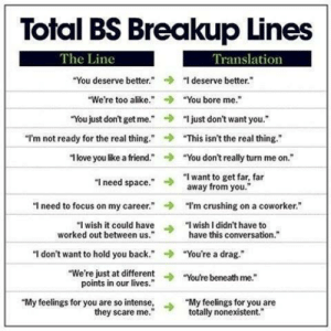"""I Need Space: Total BS Breakup Lines  The Line  Translation  """"You deserve better deserve better""""  We're too alike.""""You bore me.""""  """"You just don't getme.""""""""just don't want you.  →  """"I'm not ready for the real thing.""""  """"This isn't the real thing.""""  1 love you like a friend."""" You don't really turn me on.""""  """"I need space."""" want to get far, far  away from you""""  """"I'm crushing on a coworker.""""  have this conversation.  ->  ฯ need to focus on my career.""""  """"I wish it could have>  worked out behween h I didn't have to  worked out between us.  """"I don't want to hold you back.""""You're a drag.""""  """"We're just at differentYou're beneath me.""""  points in our lives.""""  My feelings for you are so intense, """"My feelings for you are  they scare me.""""  totally nonexistent."""""""