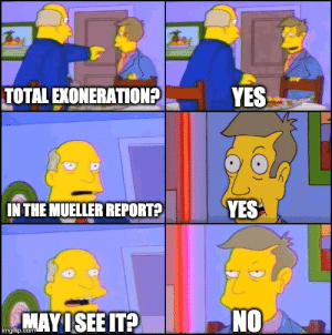 Today, Trump, and Yes: TOTAL EXONERATION?YES  YES  IN THE MUELLER REPORT?  NO  MAYISEE IT?  imgflip.com Trump today