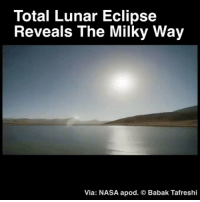 Lit, Memes, and Nasa: Total Lunar Eclipse  Reveals The Milky Way  Via: NASA apod. © Babak Tafreshi Repost @neil.degrass Incredible. ・・・ The beginning of this video may seem like Daytime but it's actually nighttime lit by the flow of the full Moon. As the moon becomes eclipsed, you can see the Milky Way. A lunar eclipse happens when Earth's shadow blocks the Sun's light. There's three types of eclipses and this is a total eclipse, others are partial, and penumbral. (total eclipse being the best one) Repost : @babaktafreshi @space space nasa stars astronomy universe neildegrassetyson