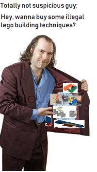 Lego, How To, and How: Totally not suspicious guy:  Hey, wanna buy some illegal  lego building techniques? How to get rich quick in 3 easy steps