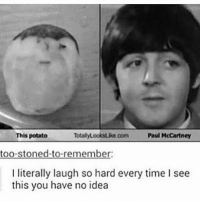 Totally looks like: TotalyLooksuko com Paul McCartney  This potato  too-stoned-to-remember:  I literally laugh so hard every time I see  this you have no idea Totally looks like