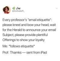 "Head, Ipad, and Email: @totheleft  Every professor's ""email etiquette"":  please kneel and bow your head, wait  for the Herald to announce your email  Subject, please provide plentiful  Offerings to show your loyalty  Me: *follows etiquette*  Prof: Thamks_sent from iPad Or ""ok"""