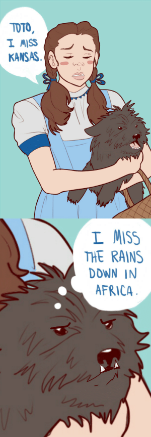 Africa, Tumblr, and Blog: TOTO  I MISS  KAS   L MISS  THE RAINS  DOWN IN  AFRICA mentalmutant: bearly-dressed: I came here to shitpost, and shitpost I will.  I don't have any words