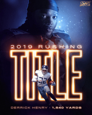 The King has been crowned. 👑 @KingHenry_2  @Titans | #Titans https://t.co/9SfafyrUyL: TOU  NFL  2019 RUSHING  TIHALE  TITANS  DERRICK HEN RY 1,540 YARDS The King has been crowned. 👑 @KingHenry_2  @Titans | #Titans https://t.co/9SfafyrUyL